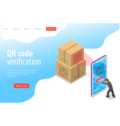 Isometric flat landing page template of qr vector