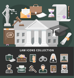 justice icons set background vector image