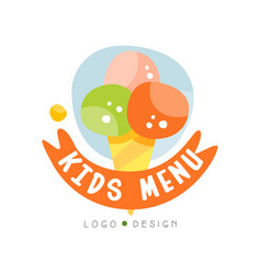 Kids menu logo design healthy organic food vector