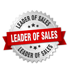 Leader of sales 3d silver badge with red ribbon vector