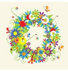 Letter O floral design vector