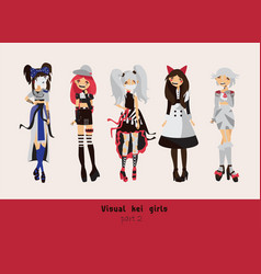 Lovely visual kei girls different hairstyles vector