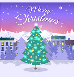 Merry christmas and fir tree on city background vector