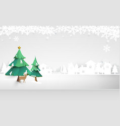 merry christmas winter snow countryside landscape vector image