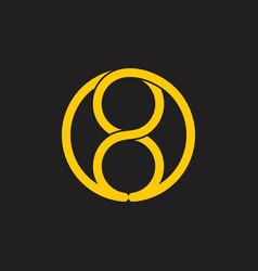 Number 8 infinity loop line logo vector