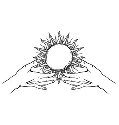 open hands with vintage sun vector image