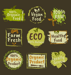 organic products and vegan food colored emblems vector image