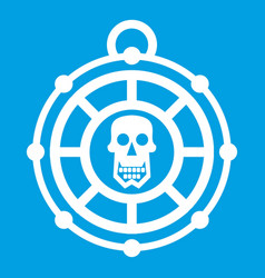 Pirate amulet icon white vector