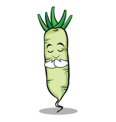 Praying white radish cartoon character vector