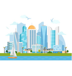 river side landscape with skyscrapers and subway vector image