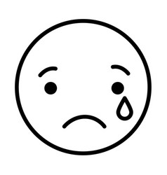 Sad round emoji vector