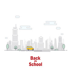 school bus on background city vector image