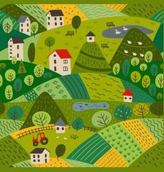 Seamless pattern summer village landscape vector