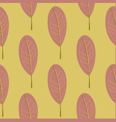 seamless pattern with striped leaves vector image vector image