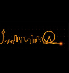 Seattle light streak skyline vector