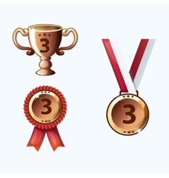 Set bronze medals and awards trophy vector