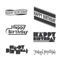 Set happy birthday lettering vector