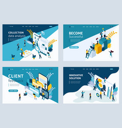Set landing page for business solutions vector
