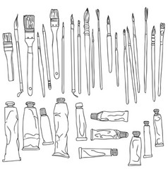 set of paint brushes and paint tubes vector image