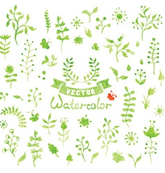 Set of watercolor nature elements vector image