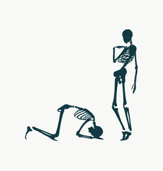 Skeleton prostrated under female foot vector