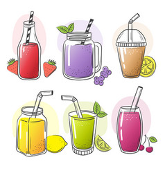 smoothie hand drawn summer cold fruits drinks vector image