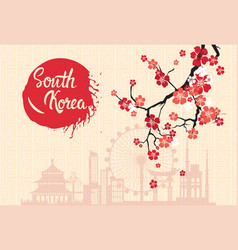 South korea landmarks silhouette decorated with vector
