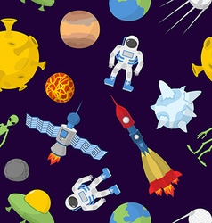 Space cartoon seamless pattern background vector image