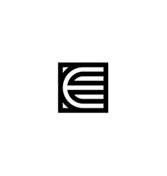 square stripes logo letter e vector image