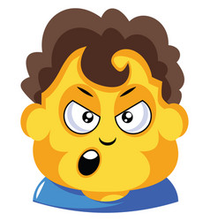 student with curly brown hair is cranky on white vector image