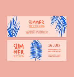 summer party flat banner templates vector image
