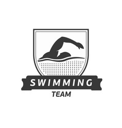 Swimming team logo swimmer silhouette in vector