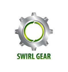 swirl gear logo concept design three dimensional vector image