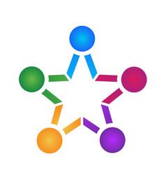 Teamwork people star shape icon vector