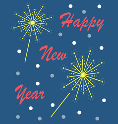 The new years card with bengal lights blue vector