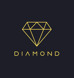 Thin line diamond logo vector
