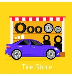 Tire Store Automobile Flat Concept vector image