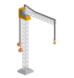 Tower crane isometric icon vector