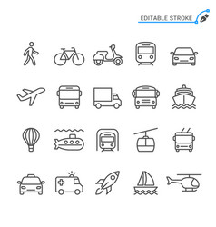 Transportation line icons editable stroke vector