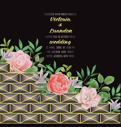 wedding invitation with geometric elements vector image