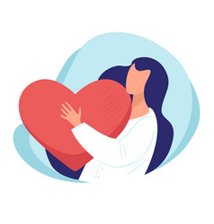Woman hugging heart lady showing love to organism vector