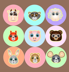 Woods and farm animals faces icon set vector