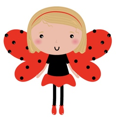 Beautiful Ladybug girl with red dotted wings vector image vector image