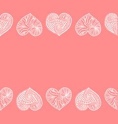 decorative horizontal border from white hearts vector image