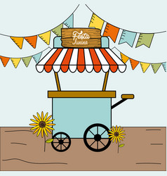 festa junina with flags party with fast food car vector image vector image