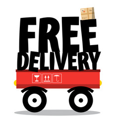 free delivery parcel and title on vehicle vector image