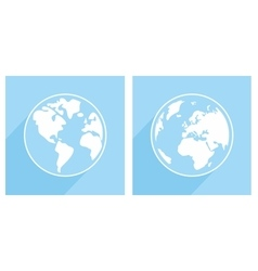 Hand drawn blue and white earth with long shadow vector image vector image