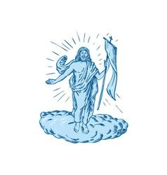 Jesus Christ Resurrection Etching vector image