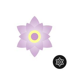 Magnolia flower top view logo Outline linear black vector image vector image