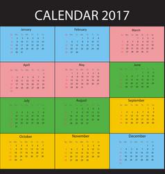 calendar for 2017 year week starts sunday vector image vector image